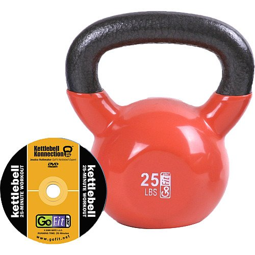 GoFit 25-Pound Orange Kettlebell with Vinyl Coating, Training DVD and Exercise Booklet